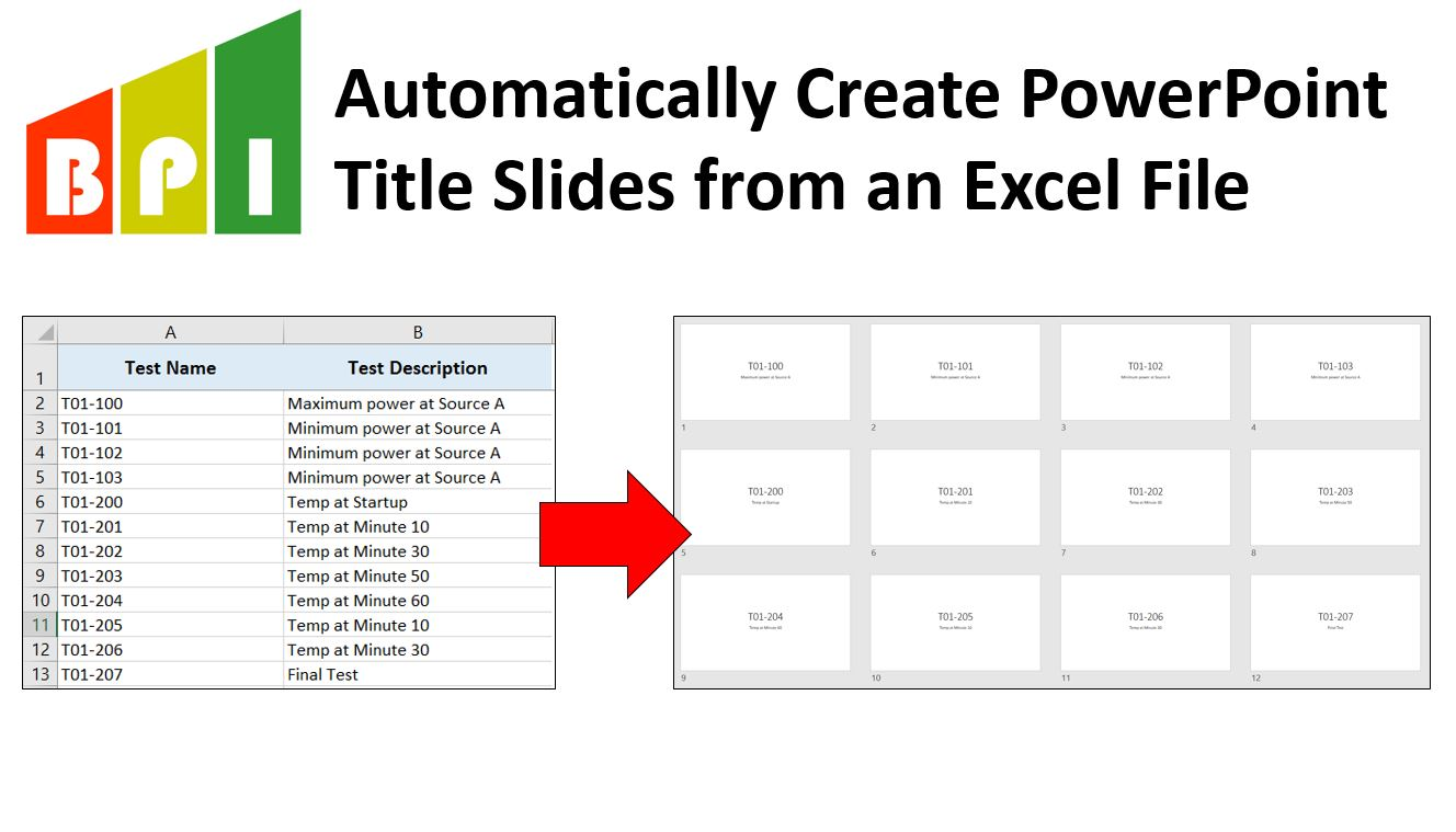 Auto Create Powerpoint Title Slides From Excel Template Business